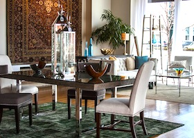 nice green rug accenting the dining room