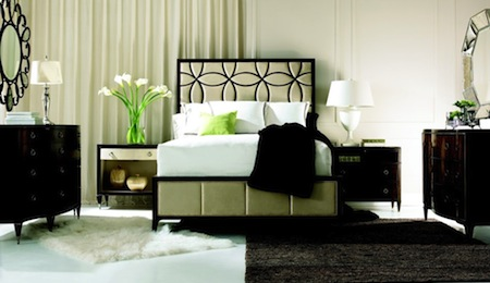 black and white toned bedroom