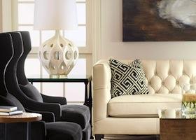 black and white motif living room