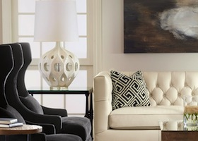 black and white motif living room