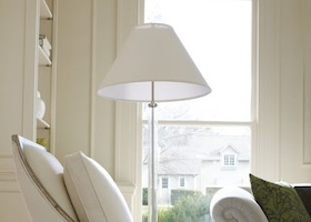 a floor lamp with shades to match the sofa